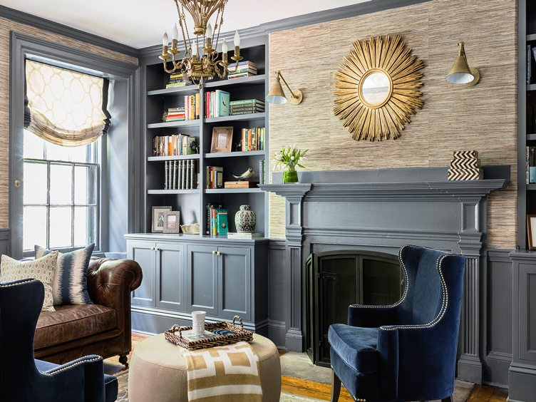 Traditional Living Room With Blue Velvet Armchair and Brass Decor