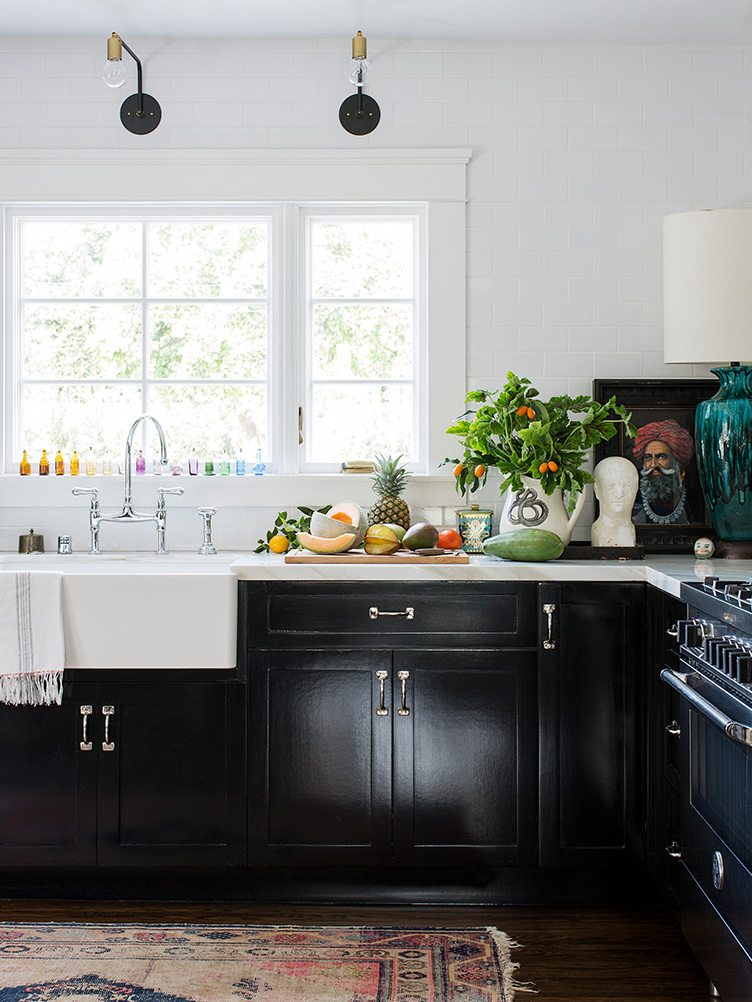 Traditional Kitchen with Black Cabinets and Textile Runner Rug on Chairish.