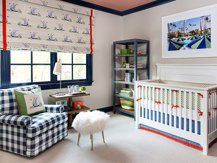 Contemporary Nursery with Blue Plaid Armchair and sailboat Window Shades.