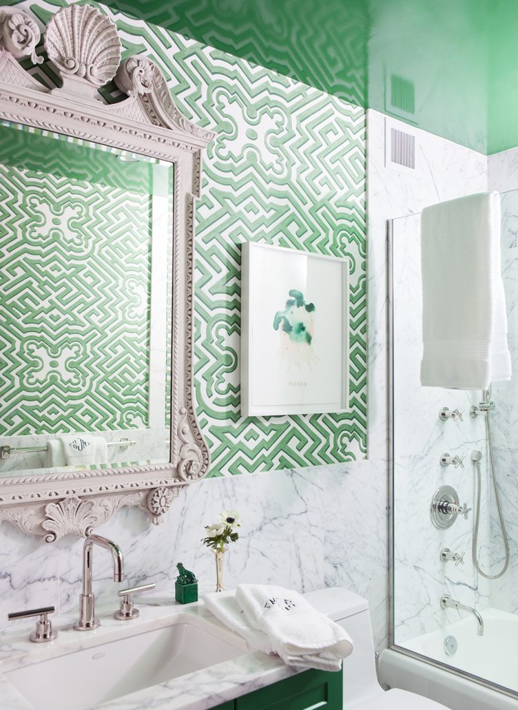 NYC Designer Nick Olsen Shares His Trade Secrets on shower curtain with green, decorating with green, photography with green, bedroom designs with green, bathroom themes with green, living room with green, kitchen design with green, paint with green, interior design with green,