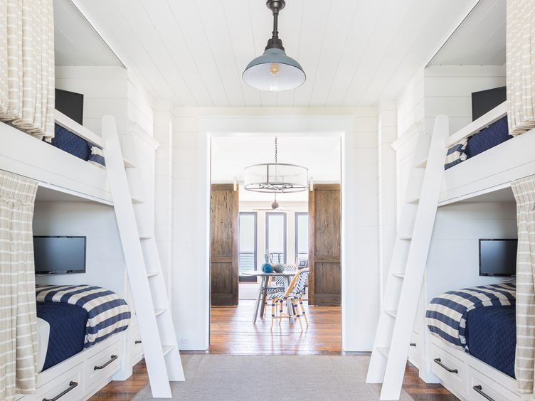 white twin bunk beds with with blue bedding in bedroom