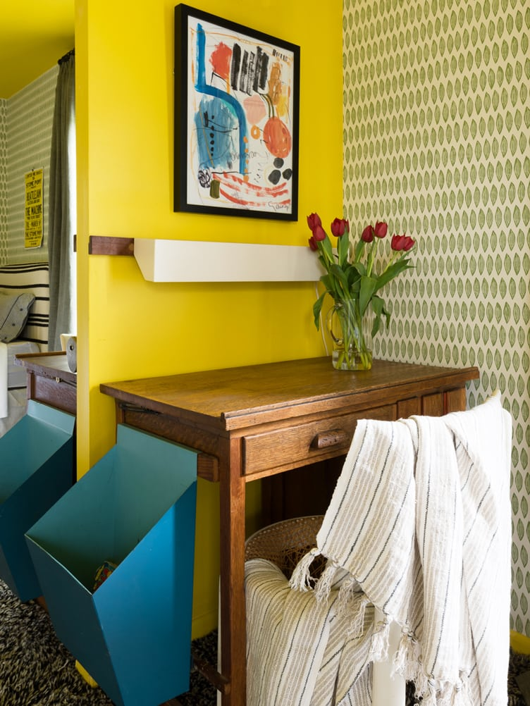 Colorful Bedroom with Yellow Walls and Abstract Print Artwork on Chairish.
