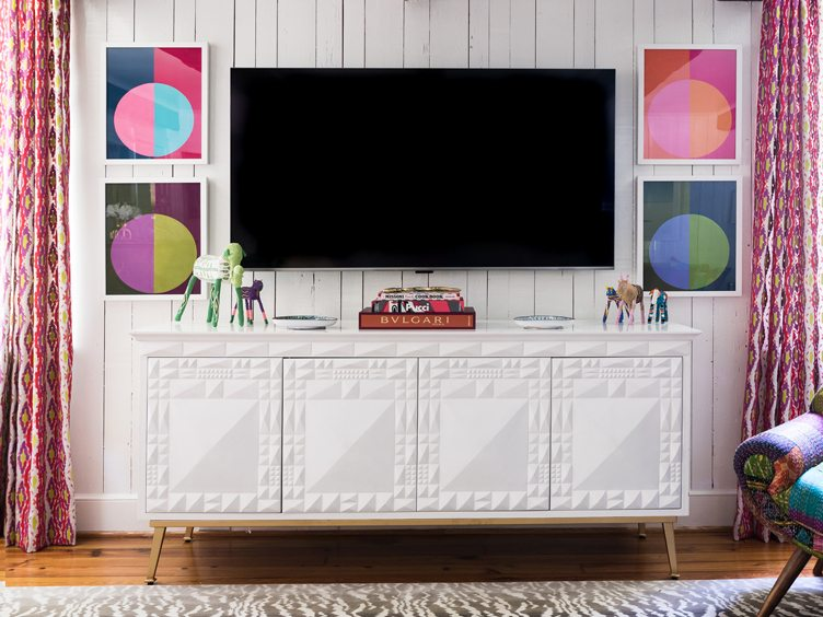 Living Room with Large White Credenza and Colorful Abstract Geometric Print Art