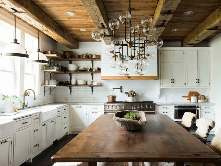 Rustic Kitchen with Wood Table and Industrial Mixed Metal and Glass Chandelier.