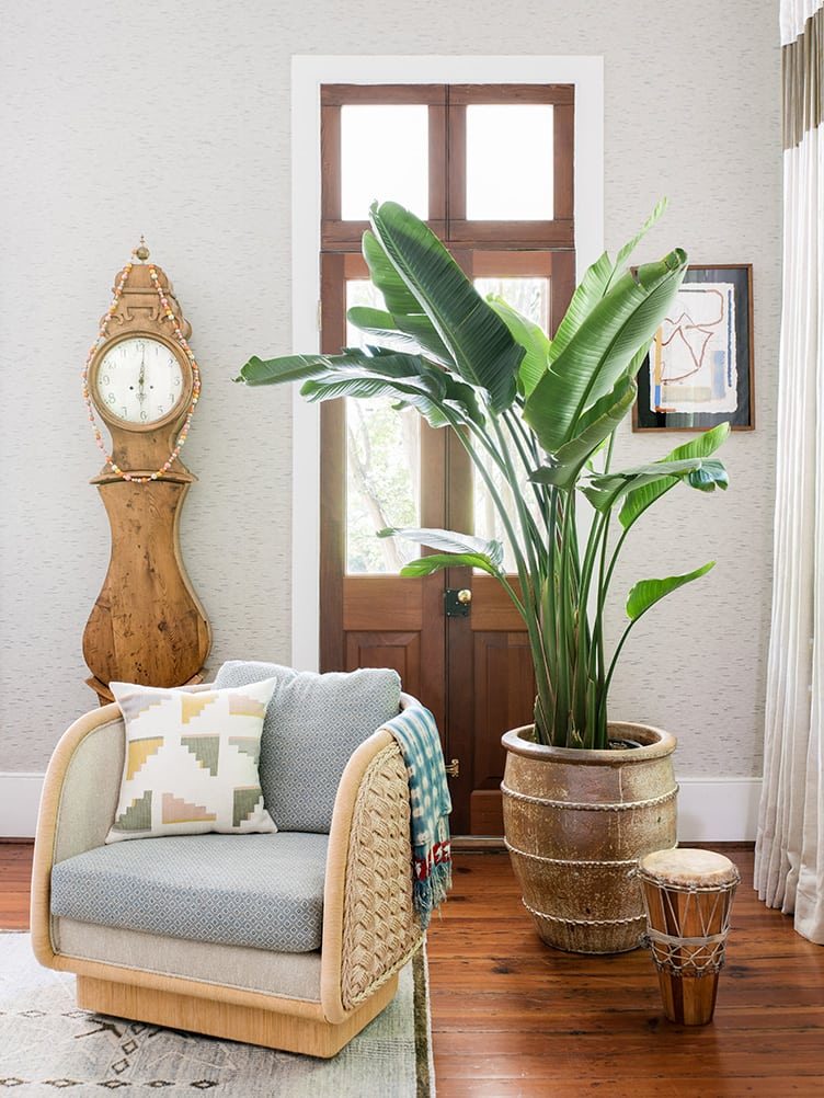 Bohemian Living Room With Wooden Grandfather Clock and Large Plant in Wooden Pot.