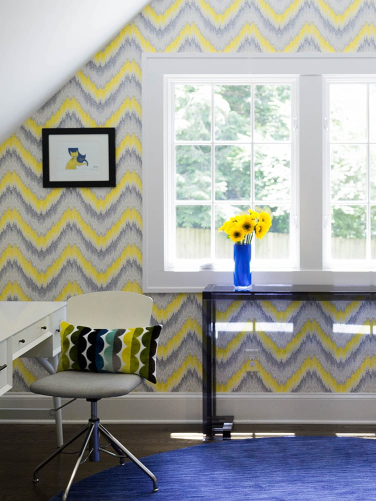 Contemporary Home Office with Grey and Yellow Patterned Wallpaper.