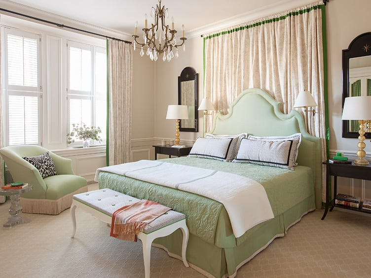 Traditional Master Bedroom With Green Bed and Headboard to Match with Green Tasseled Armchair