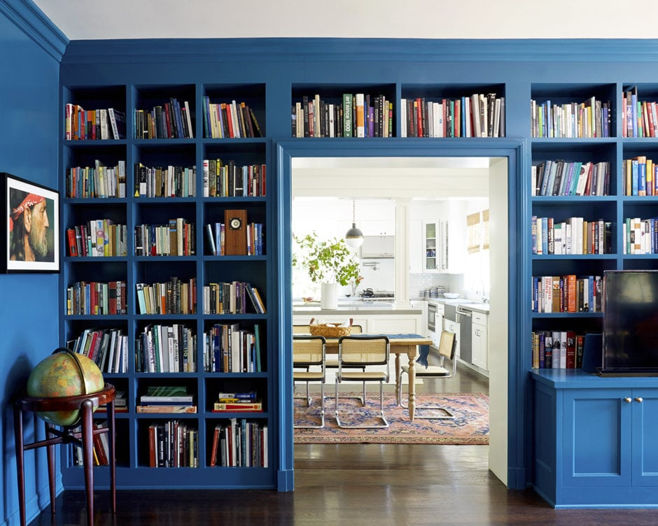 Library-Style Bookcase Royal Blue Bookcase and Contemporary Accessories