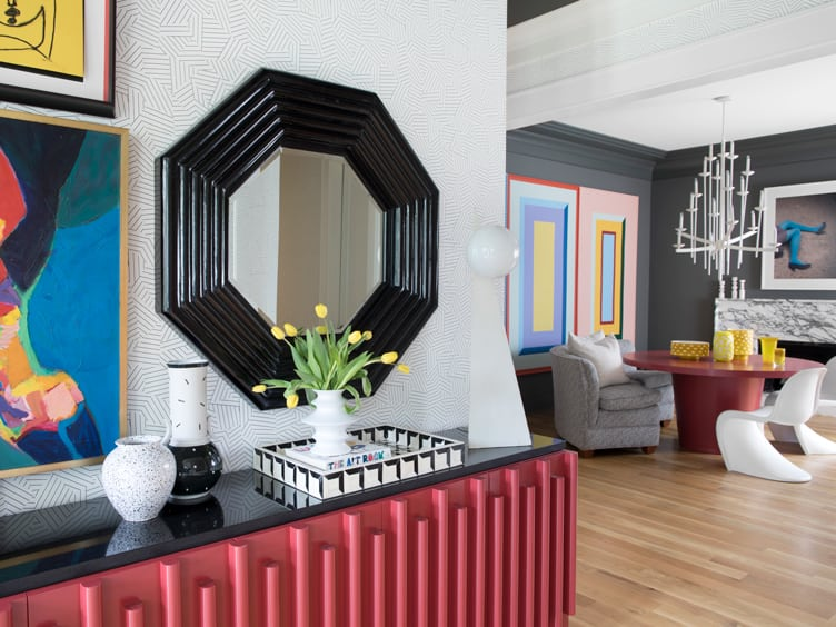 Contemporary Modern Home with Black Octagon mirror and Grey and White Patterned Wallpaper