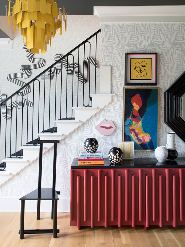 Contemporary Modern Entryway with art and Modern Yellow Chandelier on Chairish.