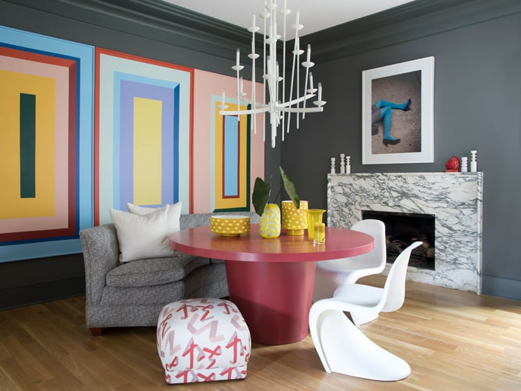 Contemporary Modern Dining Room with Large Geometric Wall Art and Modern White Chandelier.