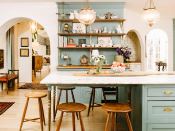 pierce & ward kitchen bar stools pendant light open shelving