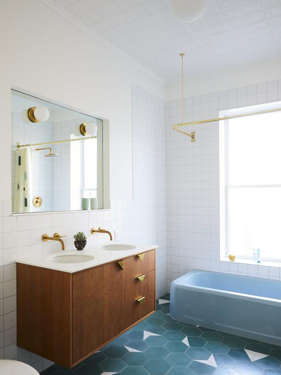 bathroom sconces blue bath tub