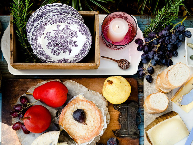 vintage china pattern, picnic, cheese plate, outdoor entertaining