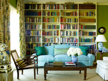 katie ridder, blue sofa, home library ideas