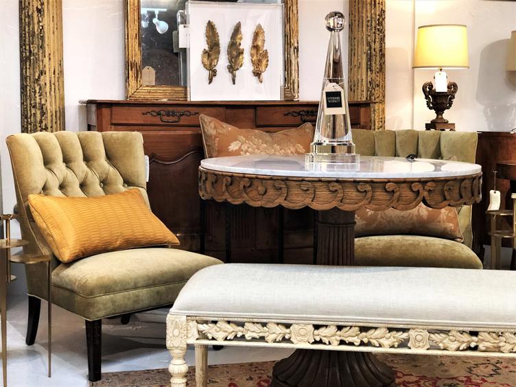atlanta interiors market gold pillow living room french style