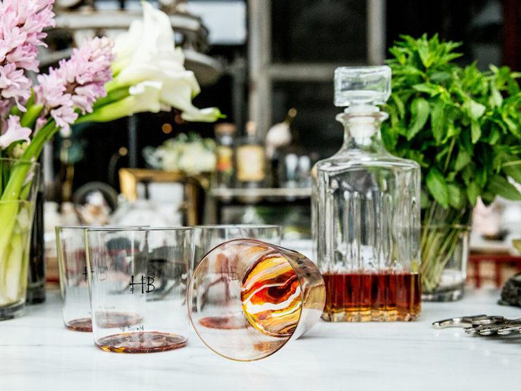 vintage cocktail glasses tablescape