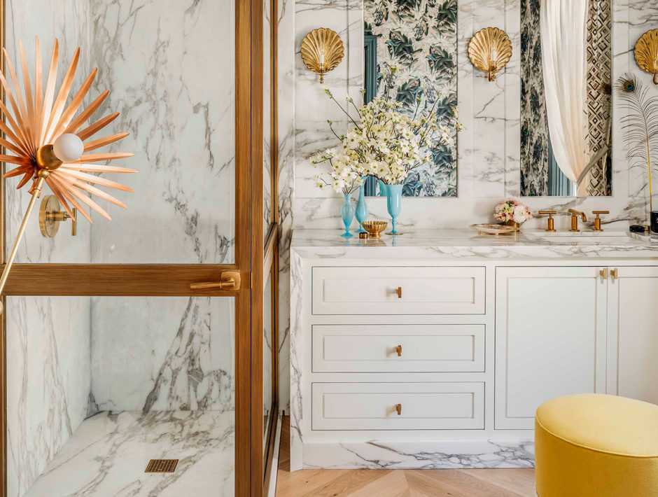 Julie Rootes Bathroom with Bookmatched Marble and Brass Details