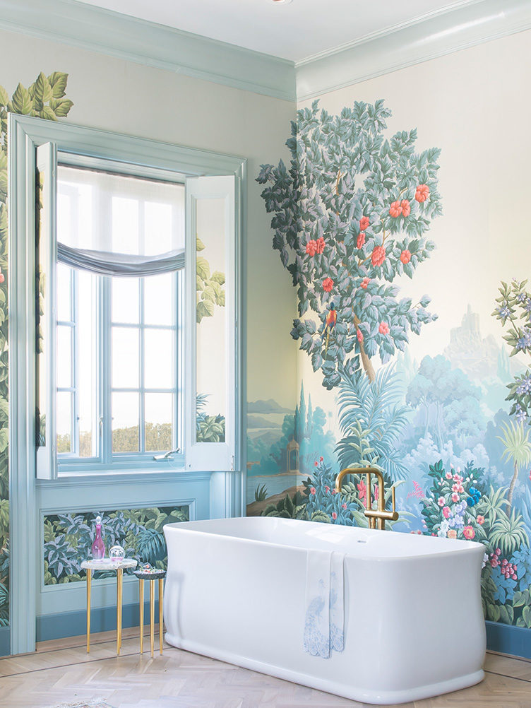 Master Bathroom with Mural Wallpaper