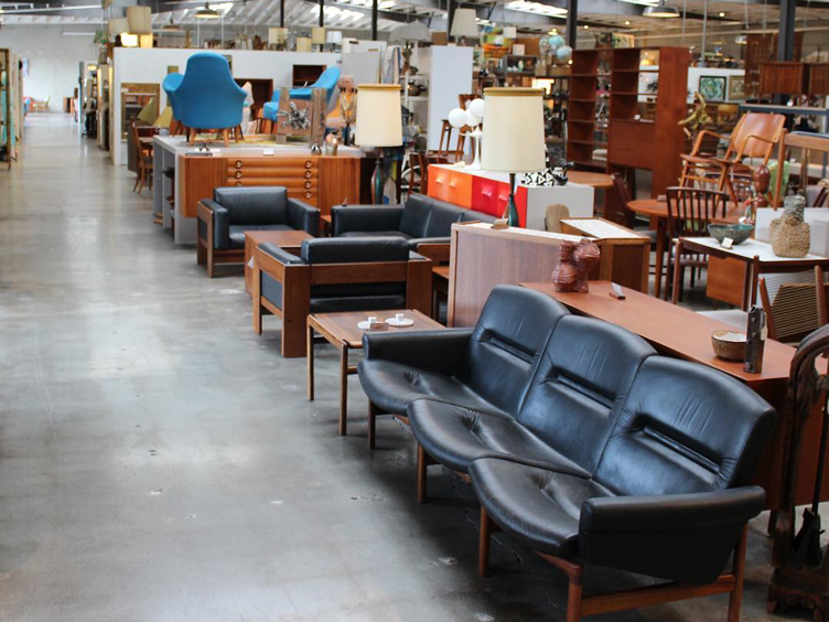 best vintage stores LA leather chairs mid century modern furniture