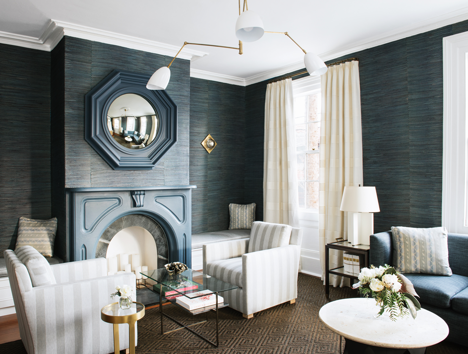 86 Cannon Hotel living room wallpaper accent chair design insiders guide to charleston