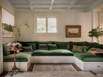 Green Velvet Built-in Sofa Jessica Helgerson