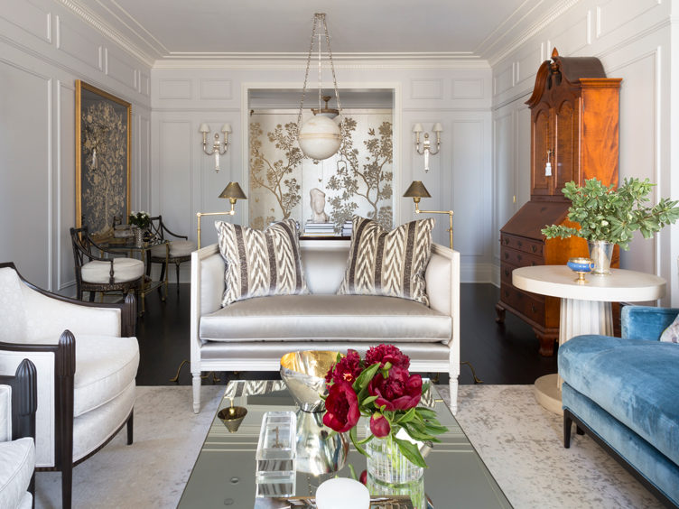 Summer Thornton Living Room with Silver Paneled Walls and Elegant, Classic Furniture