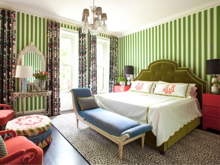 green striped wallpaper bedroom