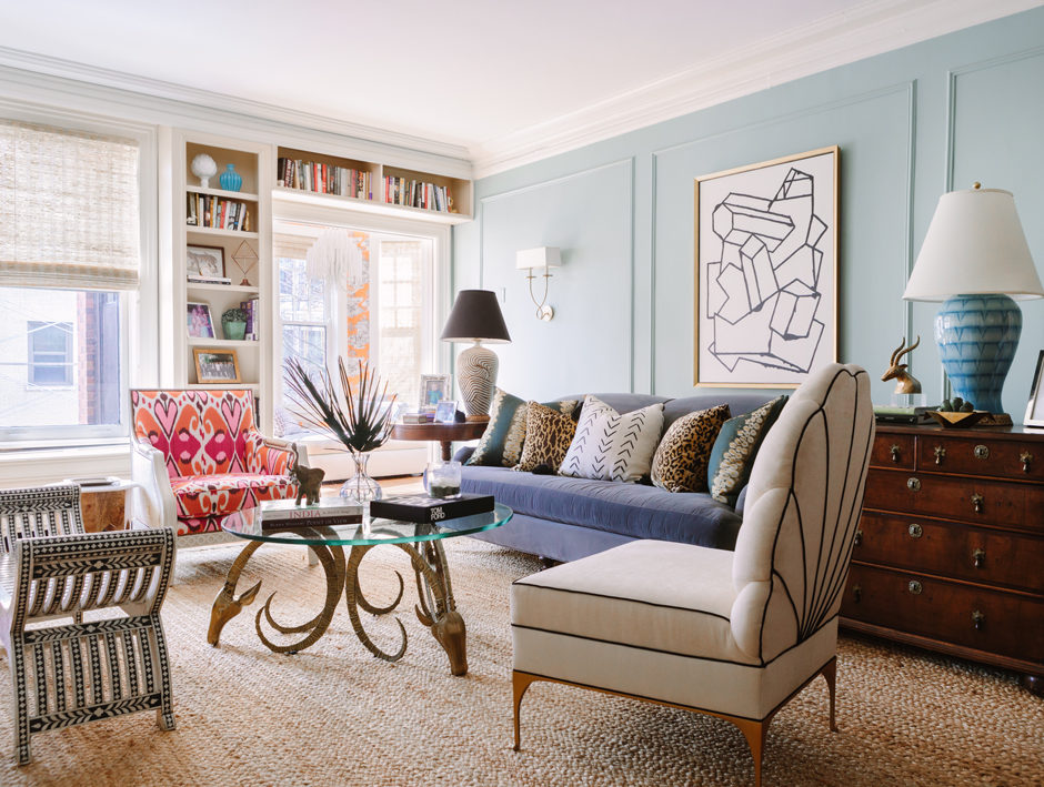 Sarah Vaile Living Room with Ibex Coffee Table and Scalloped Slipper Chair with Piping