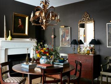 Dark Gray Moody Paint in Elegant Living Room
