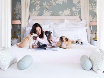 Mary McDonald in Bed with Pug Dogs