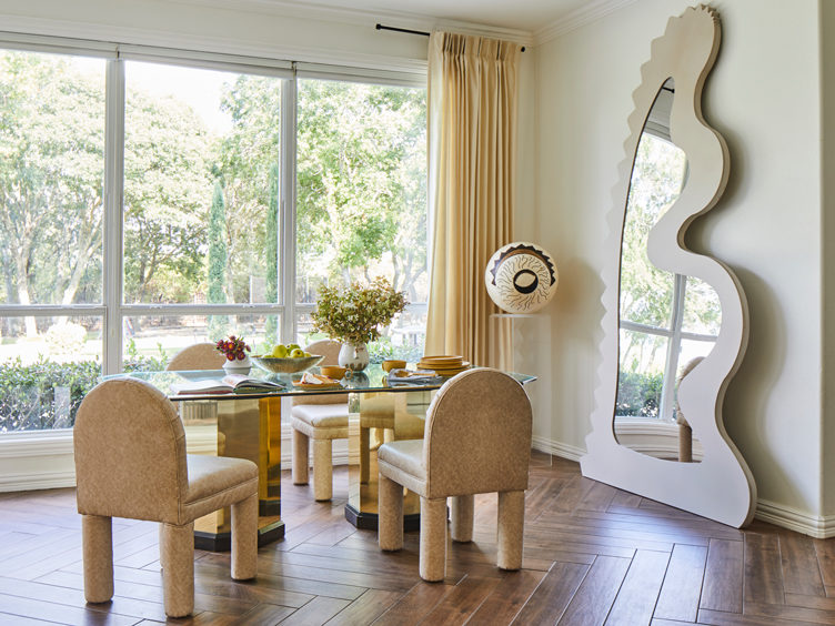 Rosie Case Home Tour Dining Table with Custom Mirror