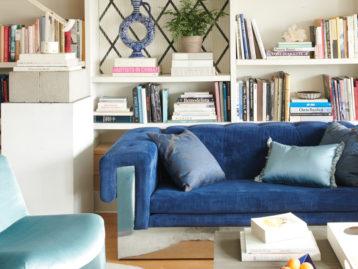 Schumacher Blue Velvet Sofa in the Style of Paul Evans