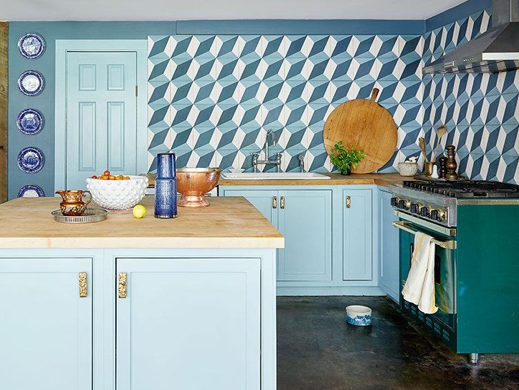 blue kitchen, patterned backsplash, colorful kitchen