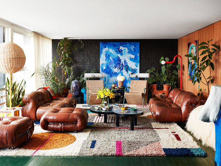 Colorful living room, modern leather couches, mexico city