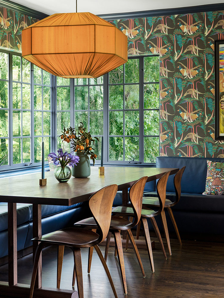 breakfast nook, jungle wallpaper,