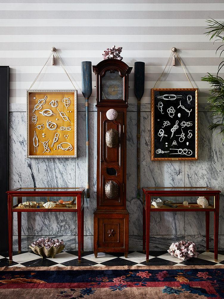 eclectic entryway, stripe wallpaper