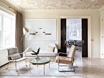 champagne beige faux bois ceiling