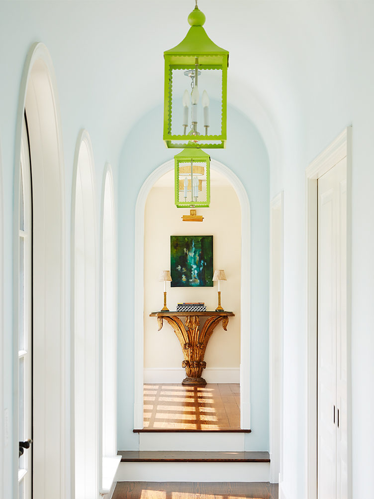 colorful hallway, painted hallway, statement hallway, kevin isbell