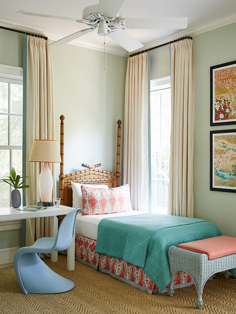 colorful bedroom, colorful kids room, sophisticated kids room, bamboo bed, panton chair, kevin isbell
