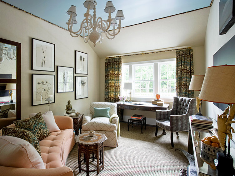 traditional living room, pink sofa, blue ceiling, kevin isbell