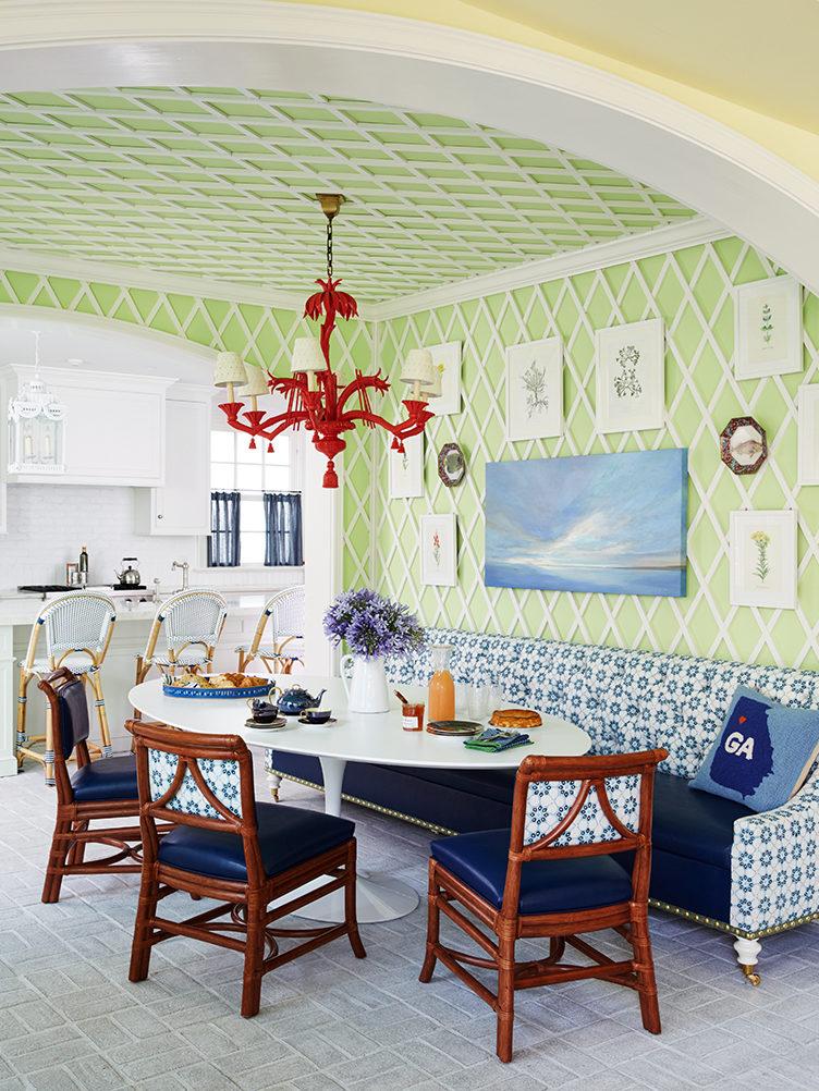 kitchen nook, colorful breakfast nook, trellis, kevin isbell, breakfast room