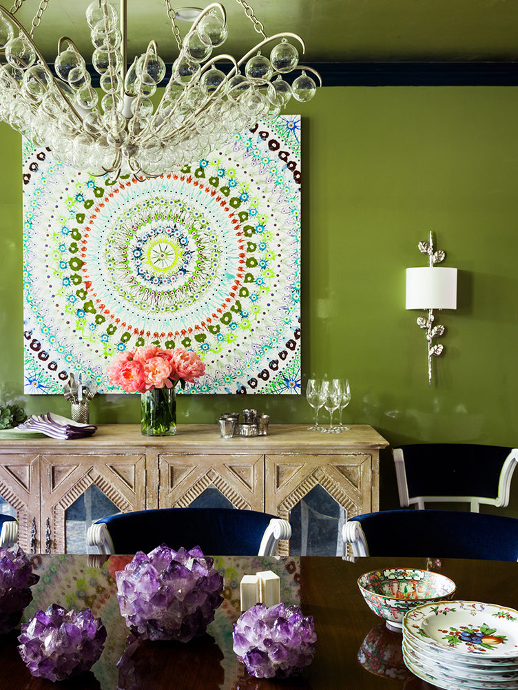 green dining room, bold dining room color, modern art