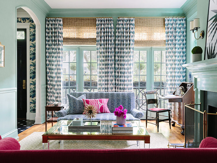 blue living room, patterned curtains,  bright paint colors