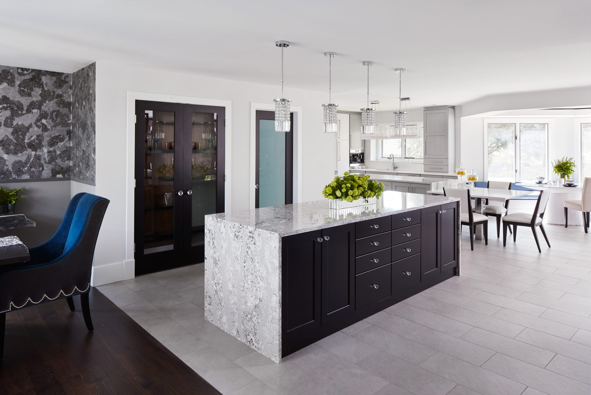 Glamorous Kitchen Full Rehab - Elegant Waterfall Countertop with Mitered Edge by Inspired Interiors