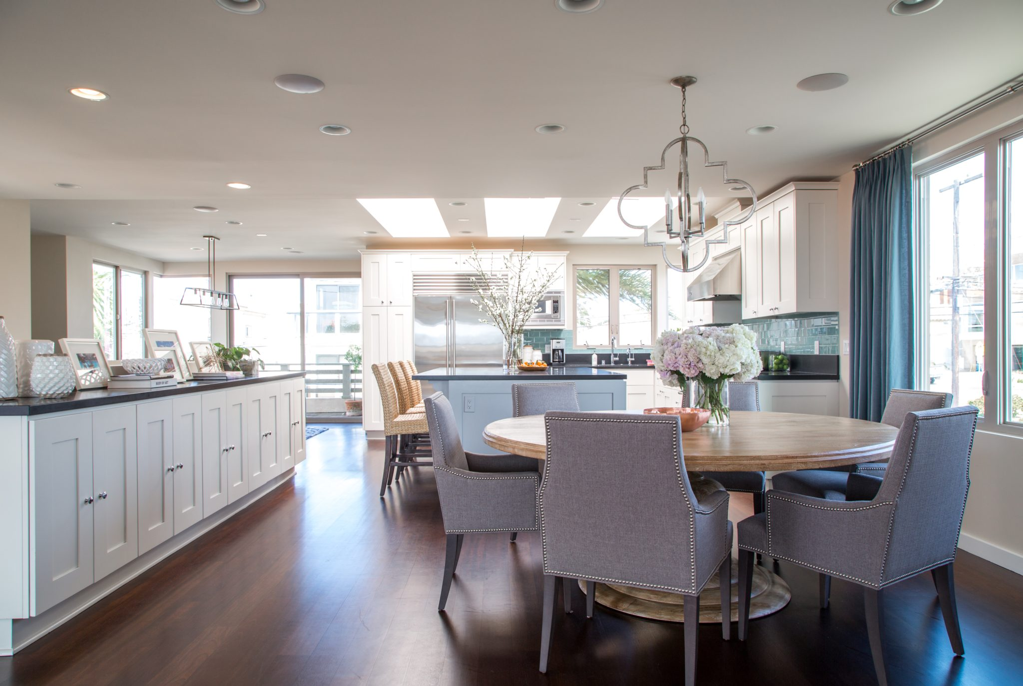 Coastal Kitchen, Beach Tones, Large Round Dining, Open Kitchen, Dark Cherry by dmar Interiors