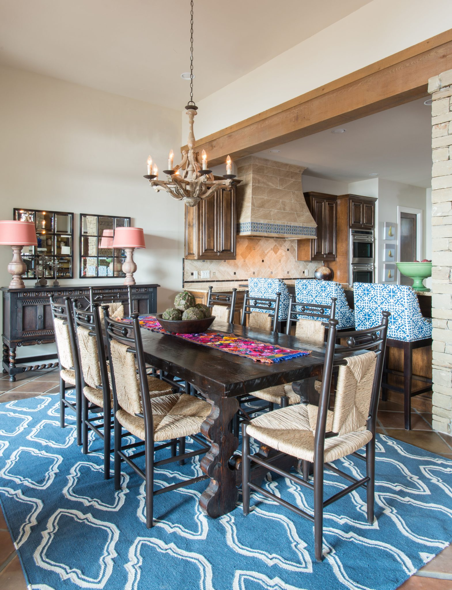 Possum Kingdom Lake House - Dining Room and Kitchen by Allison Seidler Interiors