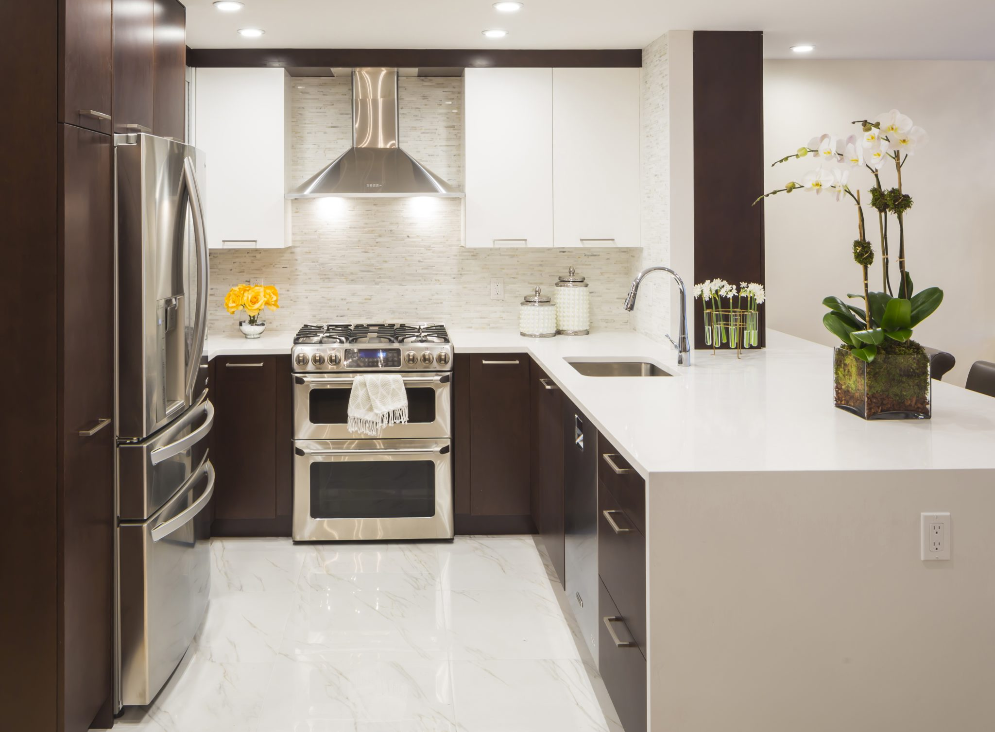 Park Slope Brownstone, two tone kitchen with water fall island by Vi Design