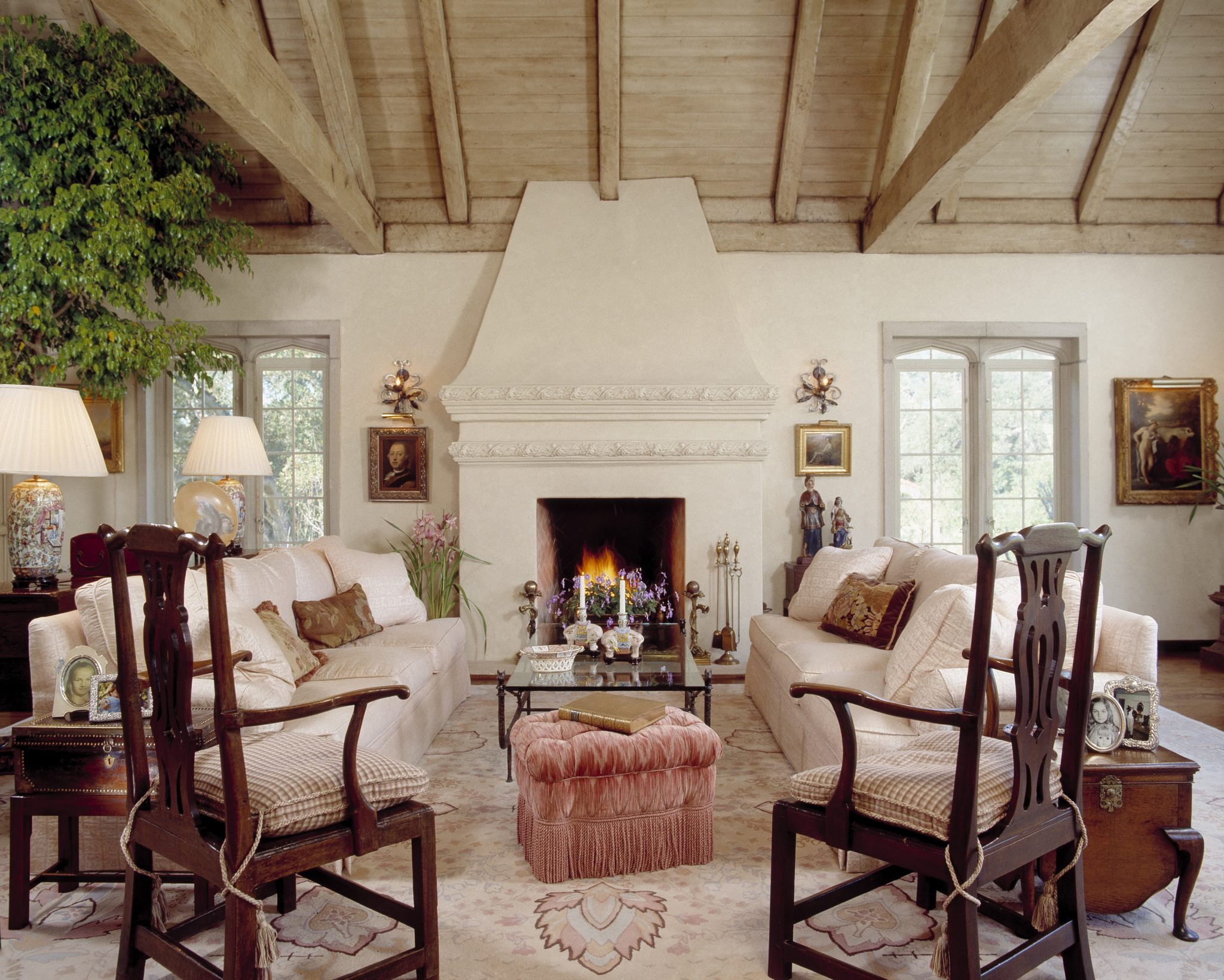 English Tudor Living Room, Montecito, California by Ann James Interiors