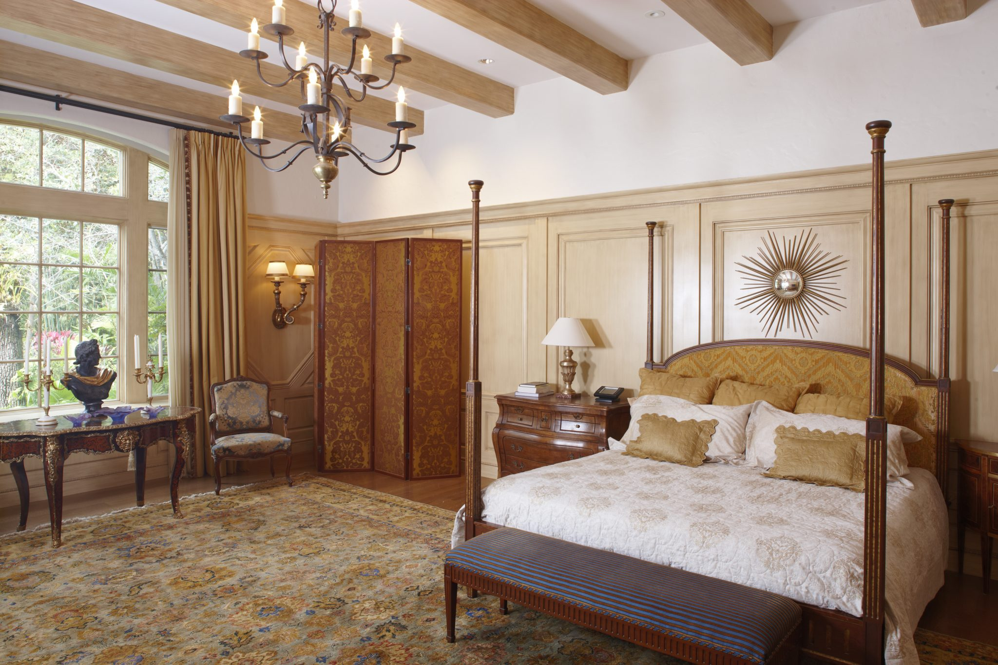 French Provincial- Millwork. Beamed ceiling and over scaled wainscotting by Gonzalez-Abreu | Alas Architects (GAA)